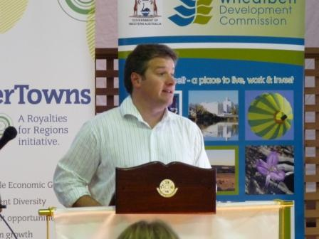 Minister Brendon Grylls speaking at the Jurien Bay Launch.