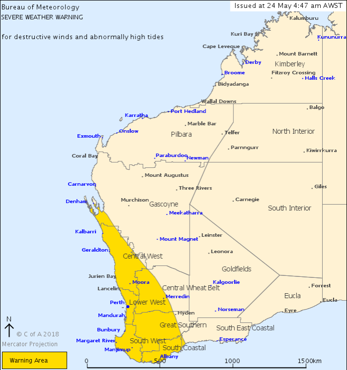 SEVERE WEATHER WARNING FOR JURIEN BAY AND COASTAL REGION