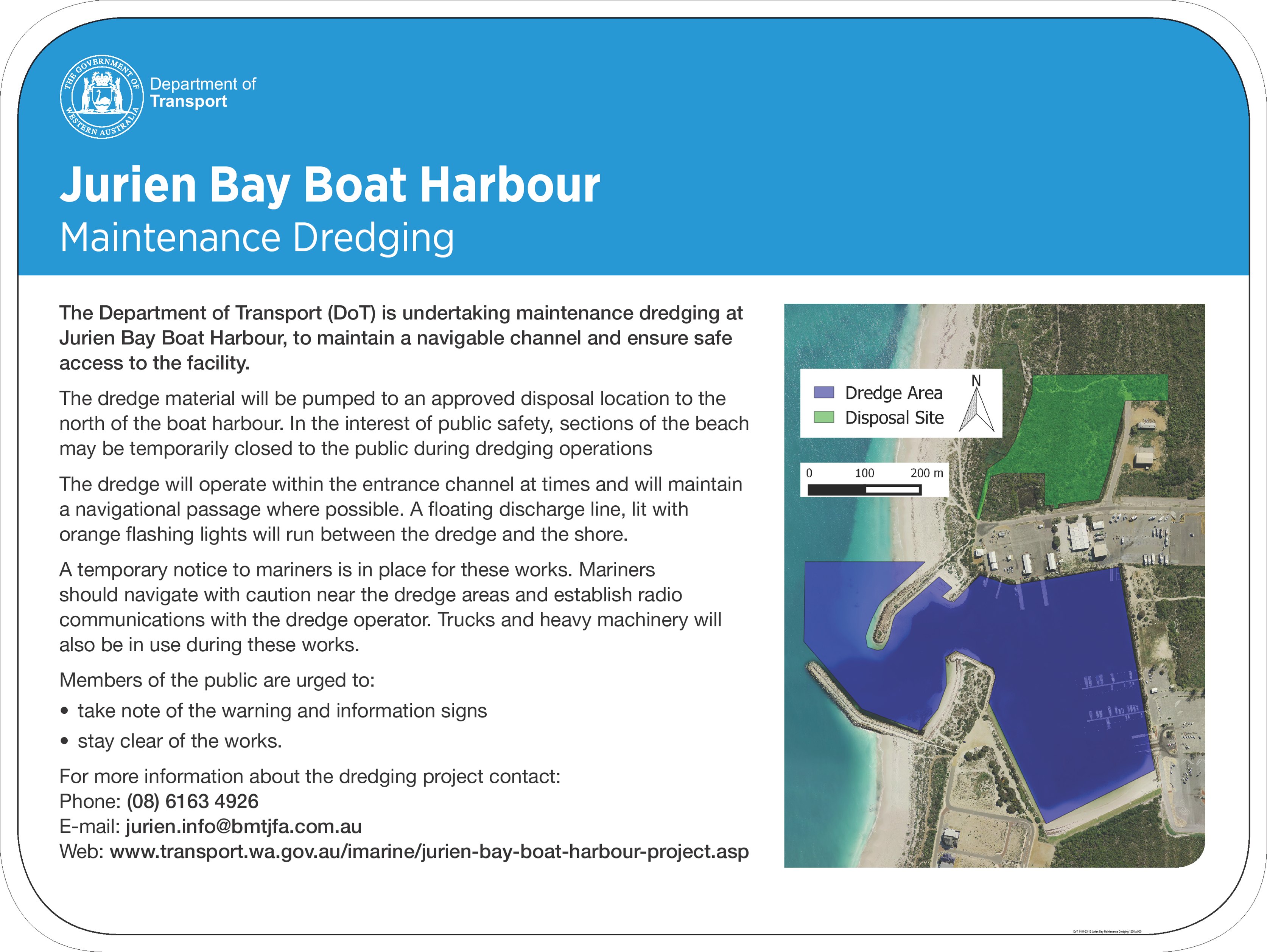 Jurien Bay Boat Harbour Maintenance Dredging - Notification of Commencement of Operations